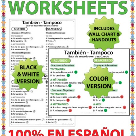 Tambien vs Tampoco wall chart both in full color and black and white - Spanish teacher resources