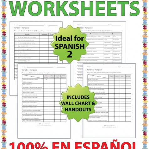 Tambien vs Tampoco Spanish worksheets with drills and exercises - Spanish teacher resources
