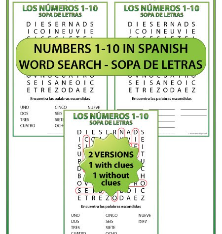 Numbers from 1 to 10 in Spanish Word Search - Sopa de Letras de los números del 1 al 10 en español