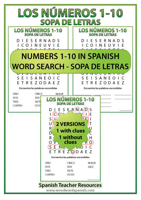 Numbers from 1 to 10 in Spanish Word Search - Sopa de Letras de los números del 1 al 10 en español