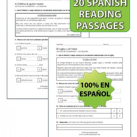 Sports in Spanish - 20 Reading Passages with Comprehension Questions - Lectura de los deportes en español