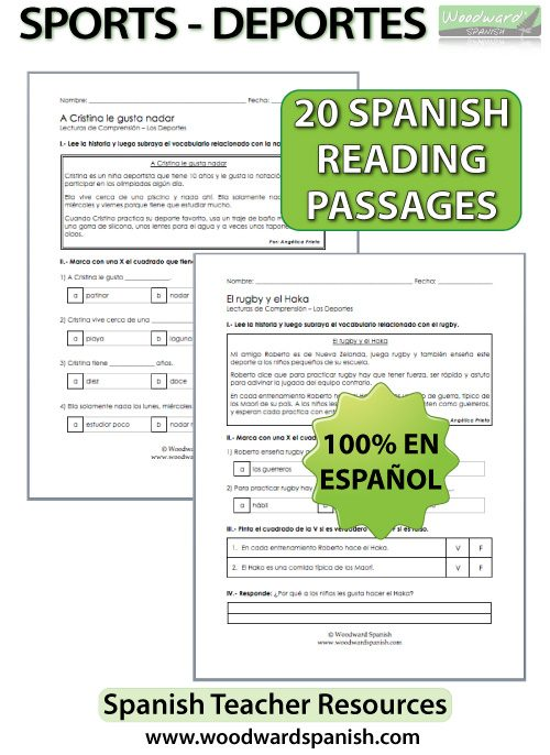 Sports – Spanish Reading Passages And Comprehension Worksheets Woodward  Spanish