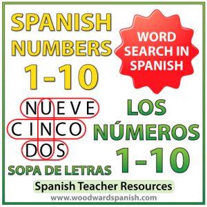 Spanish Numbers 1 to 10 Word Search - Sopa de letras - Los números del 1 al 10