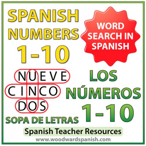 Spanish Numbers 1 to 10 Word Search - Sopa de letras - Los números del 1 al 10