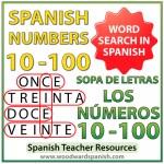 Spanish Numbers 10-100 Word Search - Sopa de letras - Los números