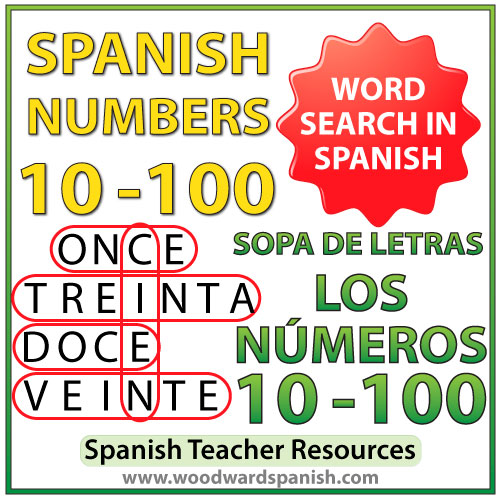 Spanish Numbers 10-100 Word Search - Sopa de letras - Los números