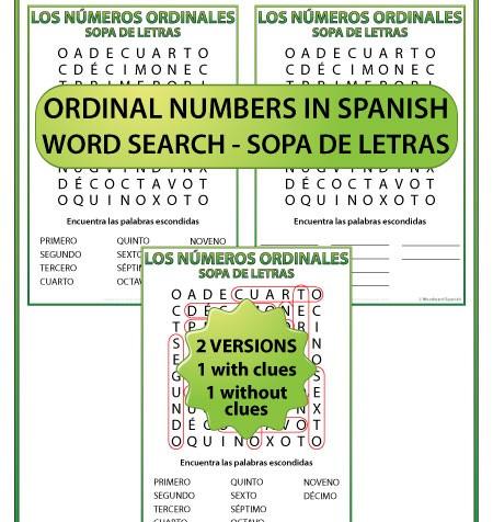 Spanish Word Search - Ordinal numbers - Los números ordinales en español - Sopa de letras