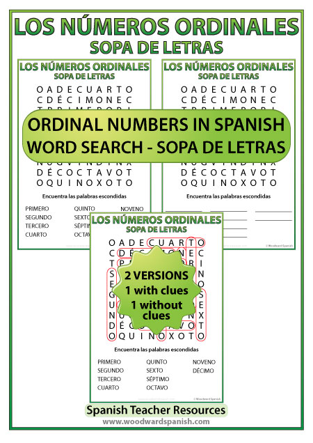 Spanish Word Search - Ordinal numbers - Los números ordinales en español - Sopa de letras