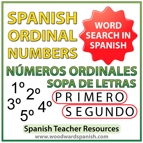Spanish ordinal numbers word search - Los números ordinales en español - Sopa de letras