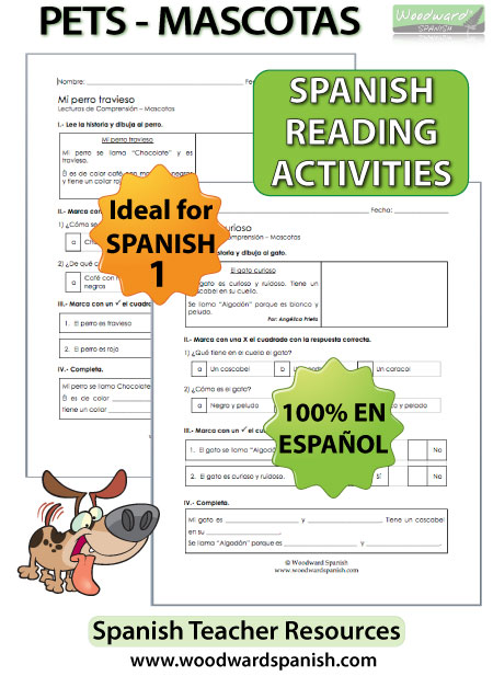 Spanish Reading Worksheets about Pets - Mascotas