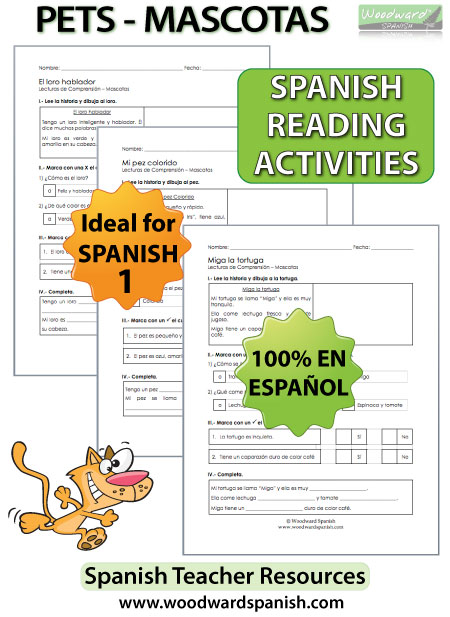 Spanish 1 Reading Worksheets - Pets - Mascotas