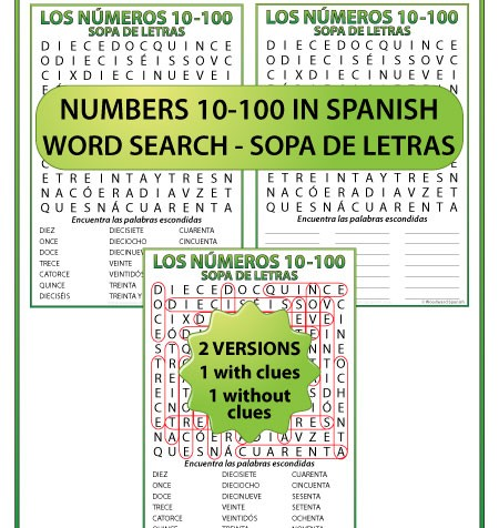 Spanish Word Search Numbers 10-100 - Sopa de letras - Los números