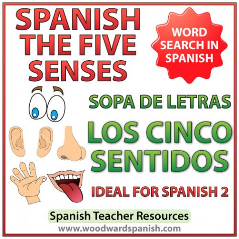 The Five Senses in Spanish Word Search. Sopa de letras - Los cinco sentidos en español.
