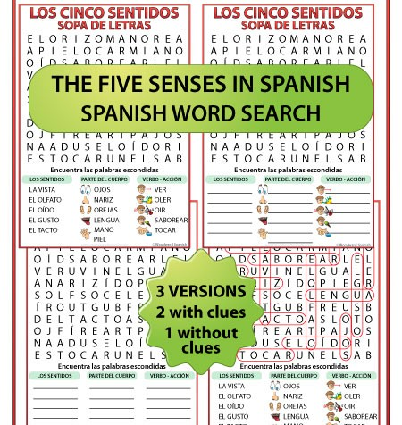 5 Senses in Spanish Word Search. Los cinco sentidos en español. Sopa de letras.