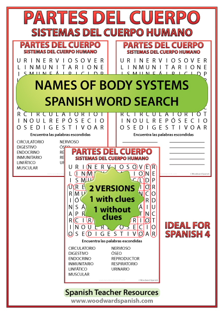 Spanish names of body systems - Word Search. Sistemas del cuerpo humano en español - Sopa de letras.
