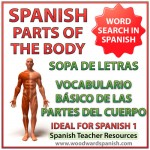 Basic parts of the body in Spanish Word Search. Partes del cuerpo humano - vocabulario básico - Sopa de letras