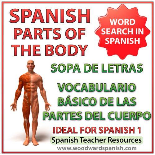 Basic parts of the body in Spanish Word Search. Partes del cuerpo humano - vocabulario básico - Sopa de letras