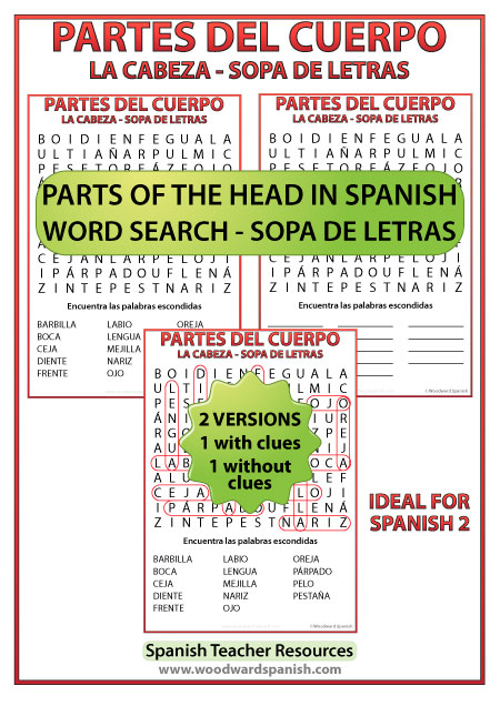 Word Search with Spanish Vocabulary about Parts of the Head. Sopa de letras - Vocabulario de las partes de la cabeza.
