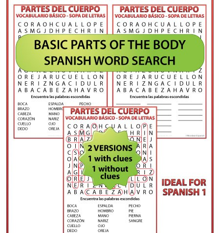 Spanish basic parts of the body Word Search. Partes del cuerpo humano - vocabulario básico - Sopa de letras