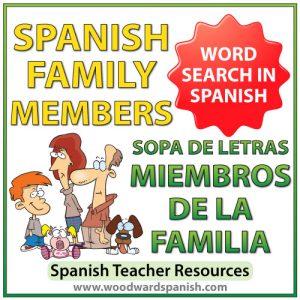 Members of the family in Spanish Word Search. Sopa de letras - Miembros de la familia en español.