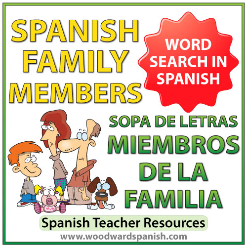 Members of the family in Spanish Word Search. Sopa de letras - Miembros de la familia en español.
