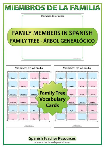 Spanish Family Tree Activity - Actividad de un árbol genealógico en español
