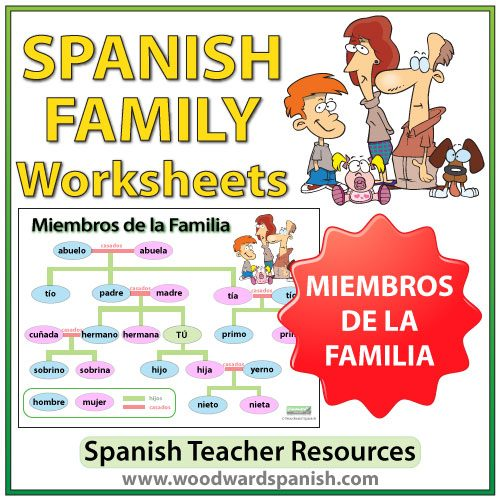 Spanish Family Worksheets and Wall Chart - Ejercicios de la Familia en español