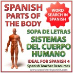 Names of body systems in Spanish - Word Search. Sopa de letras - Sistemas del cuerpo humano en español.
