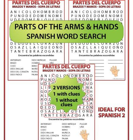 Spanish Vocabulary about Parts of the Arm and Hand - Word Search - Vocabulario de los brazos y las manos - Sopa de letras