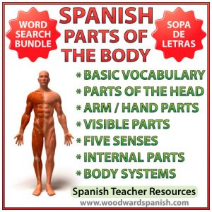 Spanish Parts of the Body Word Search Bundle - Partes del cuerpo humano - Sopa de letras