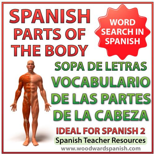 Parts of the Head Spanish Vocabulary Word Search. Sopa de letras - Vocabulario de las partes de la cabeza.