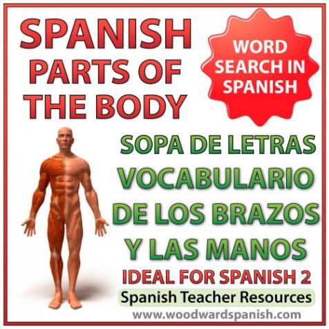 Parts of an Arm and Hand Spanish Vocabulary Word Search - Sopa de letras - Vocabulario de los brazos y las manos