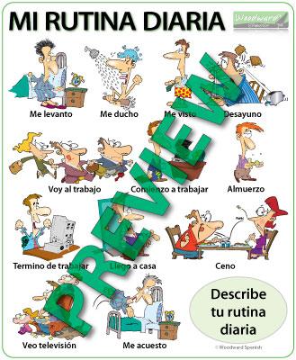 Spanish Daily Routines Wall Chart - La rutina diaria en español