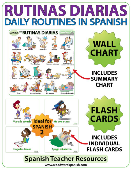 Spanish daily routines flash cards - Spanish teacher resource