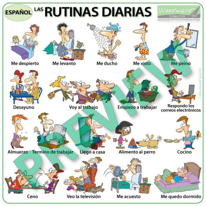 Spanish daily routines summary chart - rutinas diarias en español