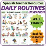 Spanish daily routines flash cards - rutinas diarias en español