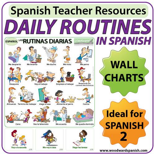 Spanish daily routines flash cards - rutinas diarias en español