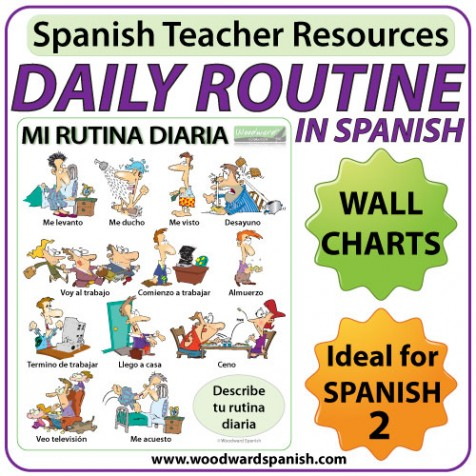 spanish daily routines wall charts flash cards woodward spanish. Black Bedroom Furniture Sets. Home Design Ideas