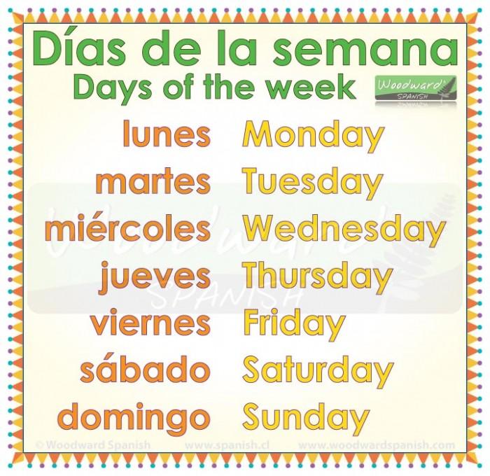 Days of the week in Spanish with English translation - Los días de la semana en español y inglés