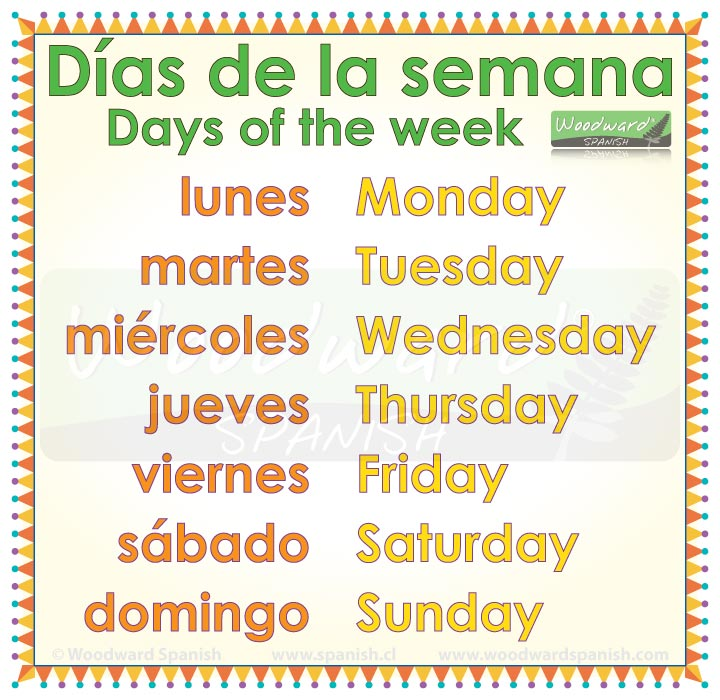 days of the week in spanish woodward spanish. Black Bedroom Furniture Sets. Home Design Ideas