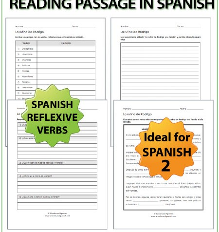 Spanish Daily Routines Reading Passage with worksheets - Lectura de una rutina diaria con ejercicios
