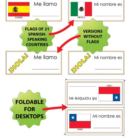 Spanish Name Tags with flags and without flags - Etiquetas para Nombres con o sin banderas