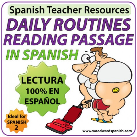 Spanish Reading Passage about Daily Routines with worksheets - Lectura de una rutina diaria con ejercicios