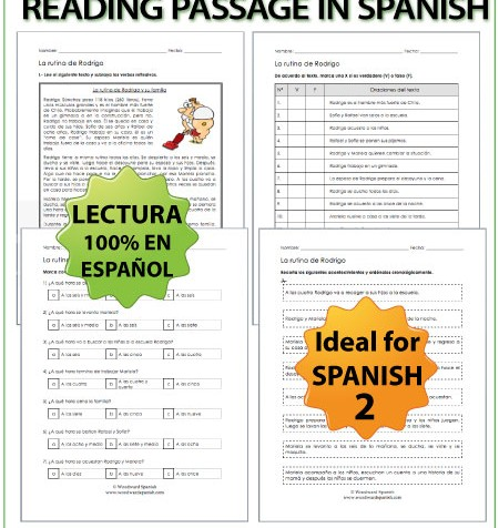 Spanish Reading about Daily Routines with worksheets - Lectura de una rutina diaria con ejercicios