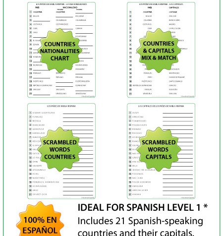 Spanish-speaking countries worksheets - Spanish Teacher Resources