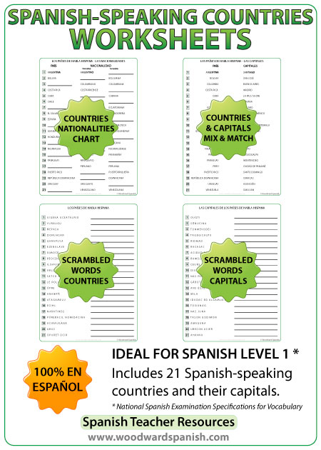 Spanish-speaking countries worksheets - Spanish Teacher Resources