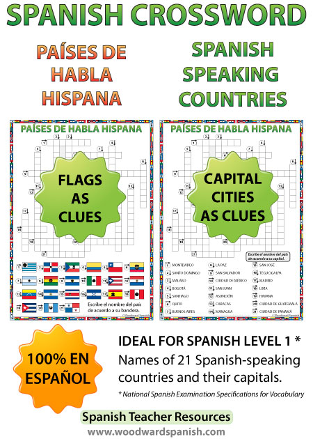 Spanish-speaking Countries Crossword – Two versions, one with flags as clues and the other with capital cities as clues.