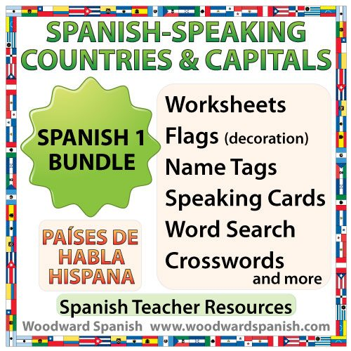 Spanish-speaking countries and capitals bundle of activities and classroom decoration