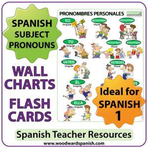 Spanish Subject Pronouns Wall Charts / Flash Cards – Pronombres Personales en español
