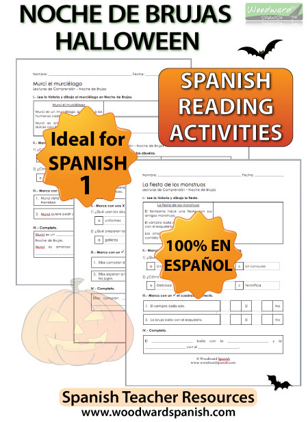 Easy Spanish 1 Reading Passages about Halloween - Noche de Brujas